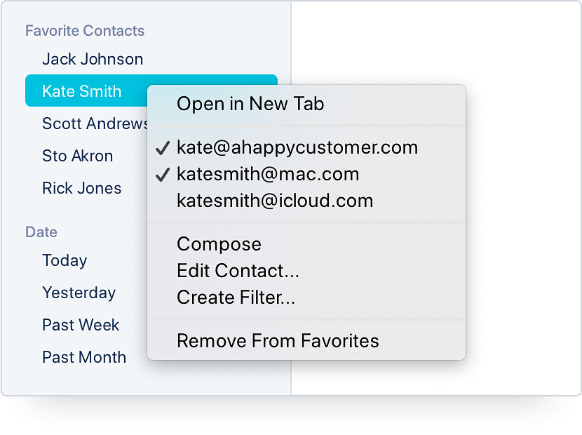 Favorite Contacts Contextual Menu