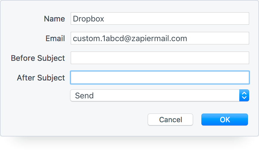 Upload to Dropbox from an Email