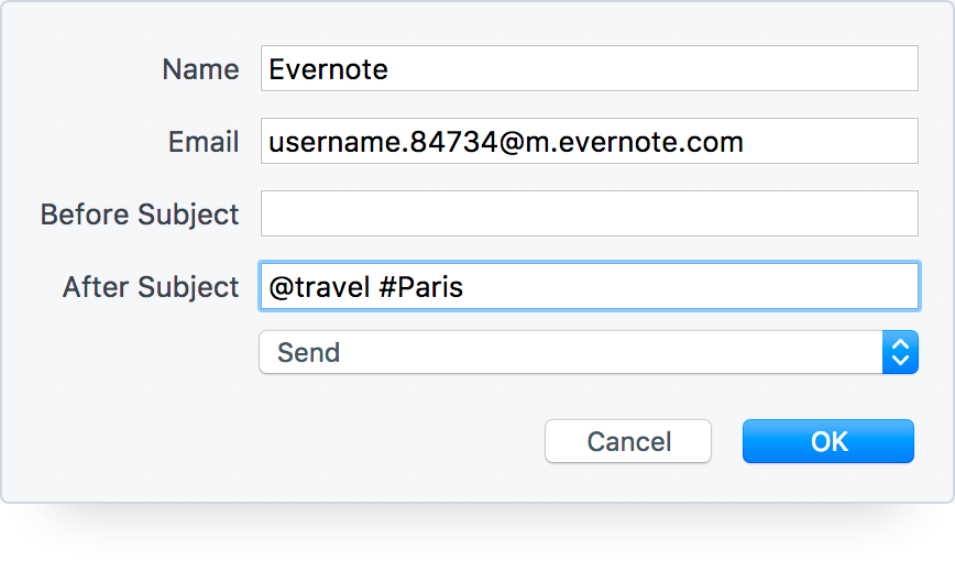 Create an Evernote Note from an Email